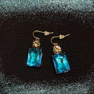 Jewelry - Blue Crystal Radiant-Cut Drop Earrings